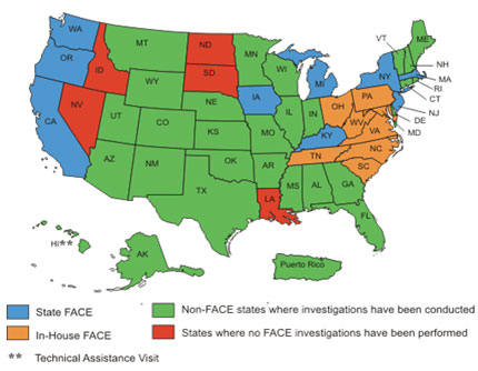 map of FACE programs