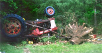 photo of overturned tractor